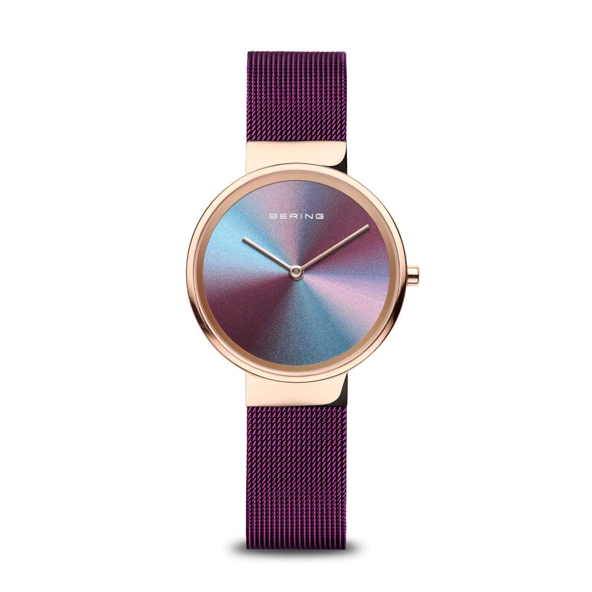 Bering Reloj de mujer Aniversario con esfera multicolor tornasolada y brazalete morado