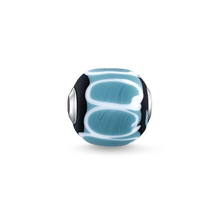 Karma bead vidrio turquesa negro blanco Thomas Sabo