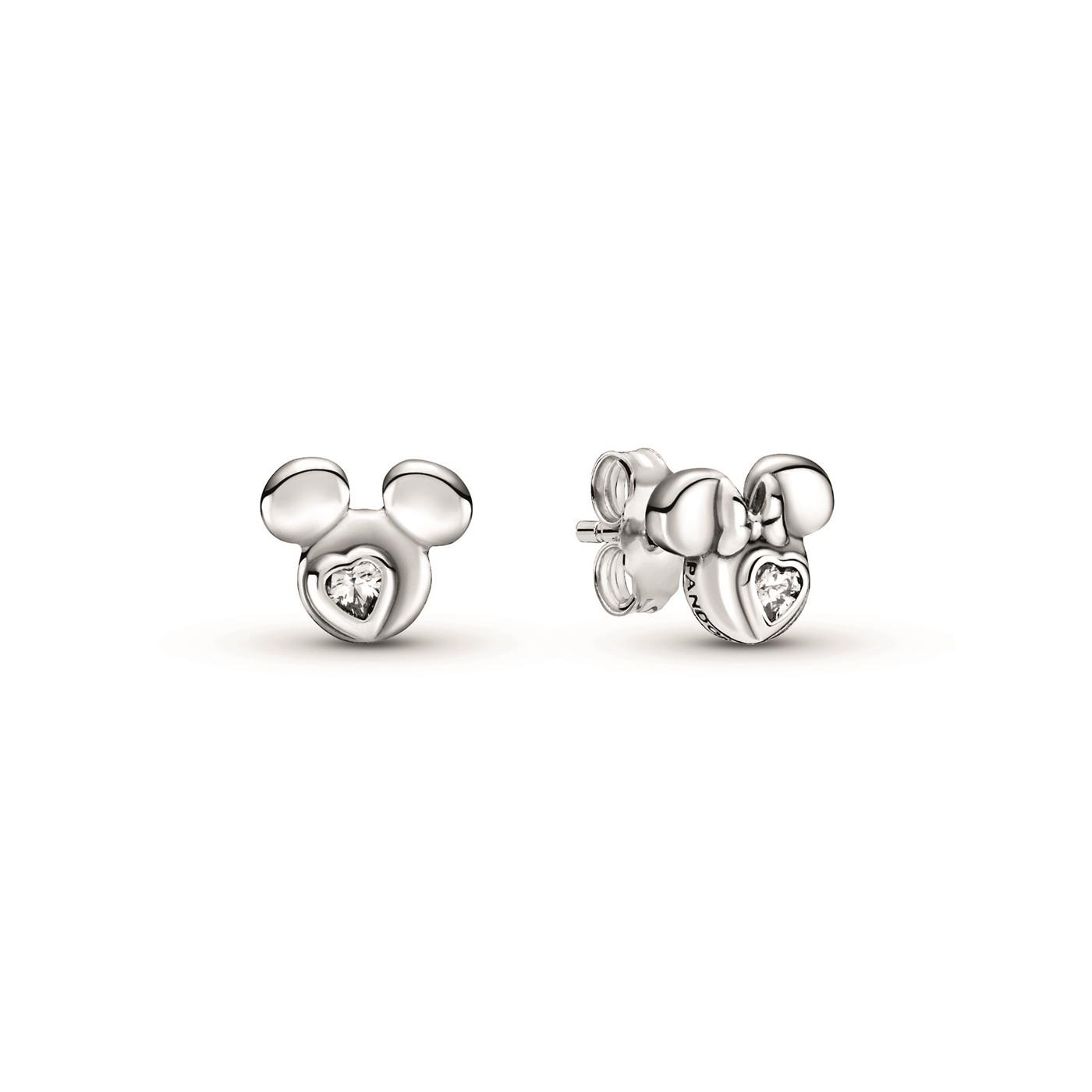 Pandora Pendientes de botón en plata Siluetas Mickey y Minnie Mouse de Disney