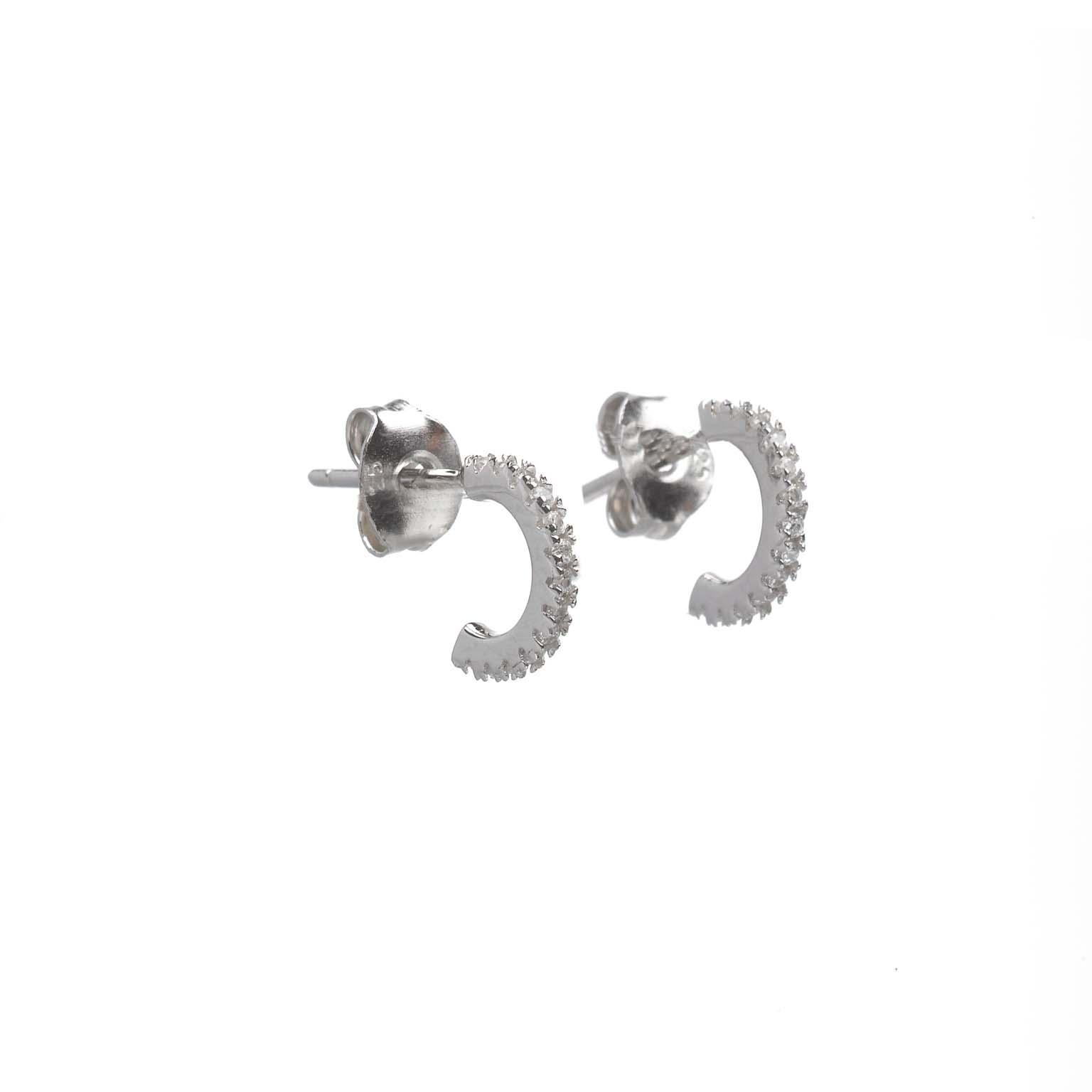 Salvatore pendientes plata rodio aro circonitas blancas 0.5cm