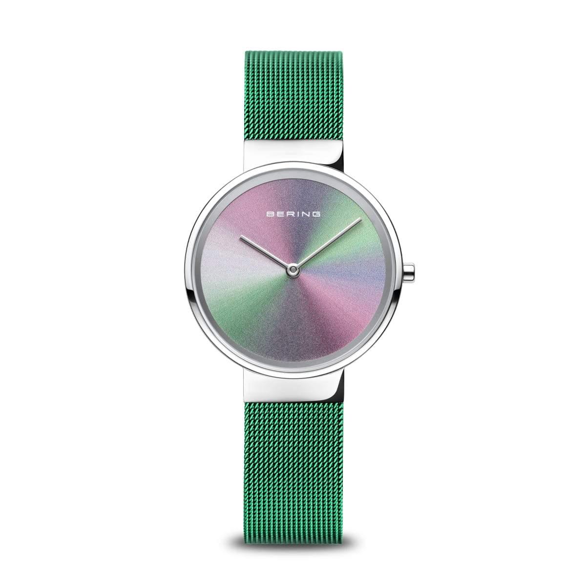 Bering Reloj Aniversario de mujer con esfera multicolor tornasolada y brazalete en verde