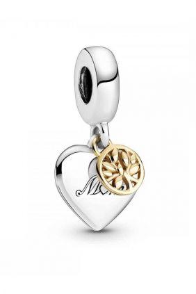 Día de la madre Charm Colgante Corazón Familiar en Dos Tonos Pandora 799366C00