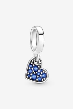 Charm Colgante Corazón Inclinado de Pavé Azul Estelar 799404C01