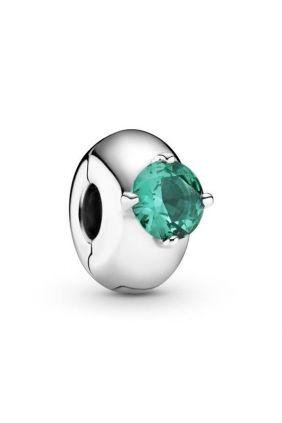 Comprar online Clip Pandora en plata de ley Círculo Solitario Verde 799204C03