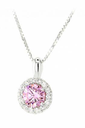 Colgante Diamonfire piedra rosa y circonitas blancas