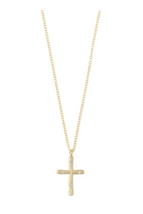 Collar plata Salvatore chapado dorado cruz circonitas blancas 224C0070