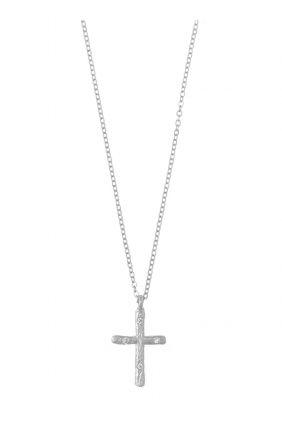 Collar Salvatore plata rodio con cruz y circonitas blancas 224C0069