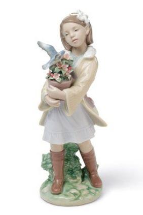 Comprar Figura niña con maceta y paloma de Lladró 8362 online