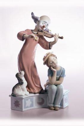 Comprar online Figura payaso violinista con niña Lladró 6900