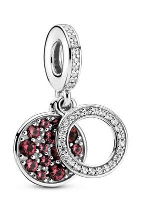 Comprar online Pandora Charm Colgante en plata de ley Doble Disco Rojo Brillante 799186C03