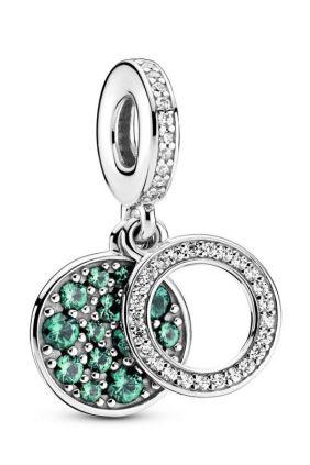 Comprar online Pandora Charm Colgante en plata de ley Doble Disco Verde Brillante 799186C02