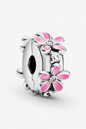 Pandora Charm plata Clip Flores Esmalte