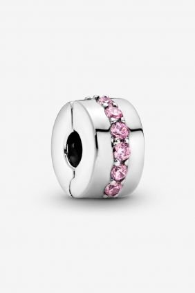 Pandora Charm plata Clip circonitas Rosa
