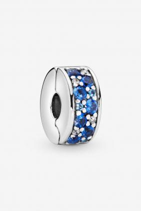 Pandora Charm plata Clip estrecho circonitas azules