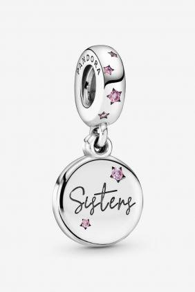 Pandora Charm plata colgante Sisters circonita rosa