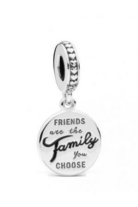 Pandora Charm plata colgante los amigos son familia