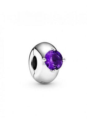 Comprar online Pandora Clip en plata de ley Círculo Solitario Morado 799204C02