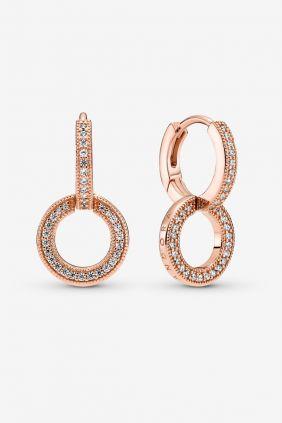 Comprar online Pendientes Doble Aro Brillantes Pandora Oro Rosa 799490C01