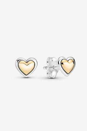 Comprar online Pendientes Pandora de Botón Corazón de Centro Dorado