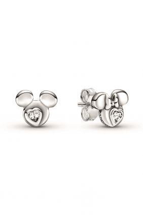 Pandora Pendientes de botón en plata de ley Siluetas Mickey Mouse y Minnie Mouse de Disney