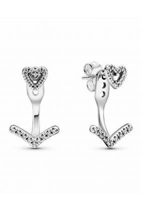 Comprar online Pendientes Pandora de botón en plata de ley Corazón Brillante