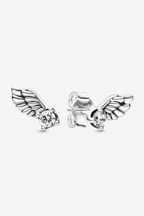 Pandora Pendientes en plata de ley Alas de Ángel Brillantes