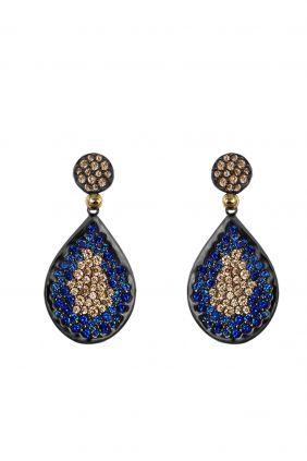 Comprar online Pendientes plata oro laminado circonitas azules champán Bohemme 7SFT003EAZ