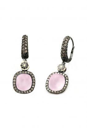 Comprar online Pendientes plata y oro con cuarzo rosa hidrotermal y circonitas Bohemme 7TUT005EPI