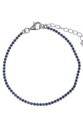 Pulsera de moda Salvatore plata rodio Riviere circonitas azul 258P0008