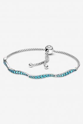 Comprar online Pulsera cierre deslizante azul ondulada Pandora 599436C01-1
