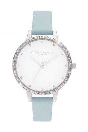 Comprar online Reloj mujer bisel Olivia Burton arcoíris turquesa y plata OB16RB19