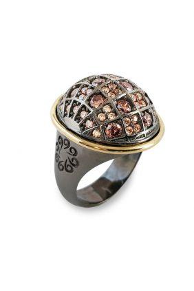 Comprar online Sortija plata con oro amarillo laminado y circonitas Bohemme 7CHO016R14
