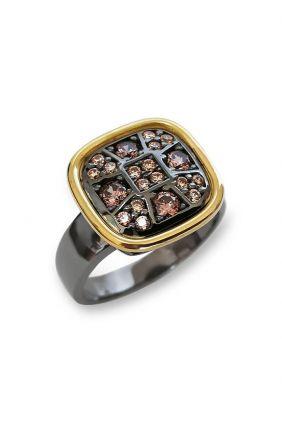 Comprar online Sortija plata con oro amarillo laminado y circonitas de bohemme 7CHO005R15