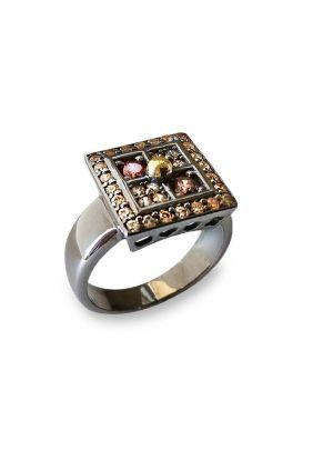 Sortija plata con oro amarillo y circonitas Bohemme 7CHO007R14
