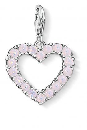 Thomas Sabo colgante charm corazon con piedras rosas