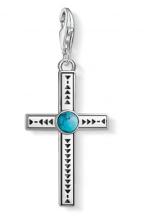 Thomas Sabo colgante charm cruz étnica turquesa